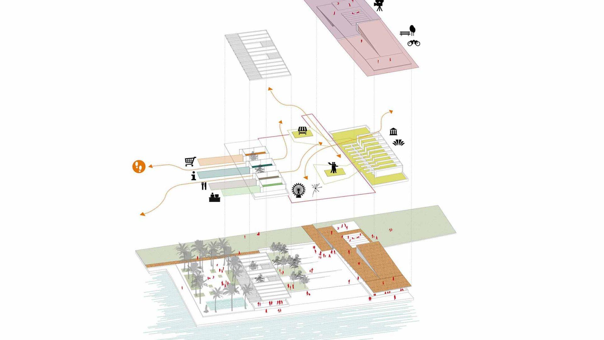 Axonométrica del concepte de l'edifici