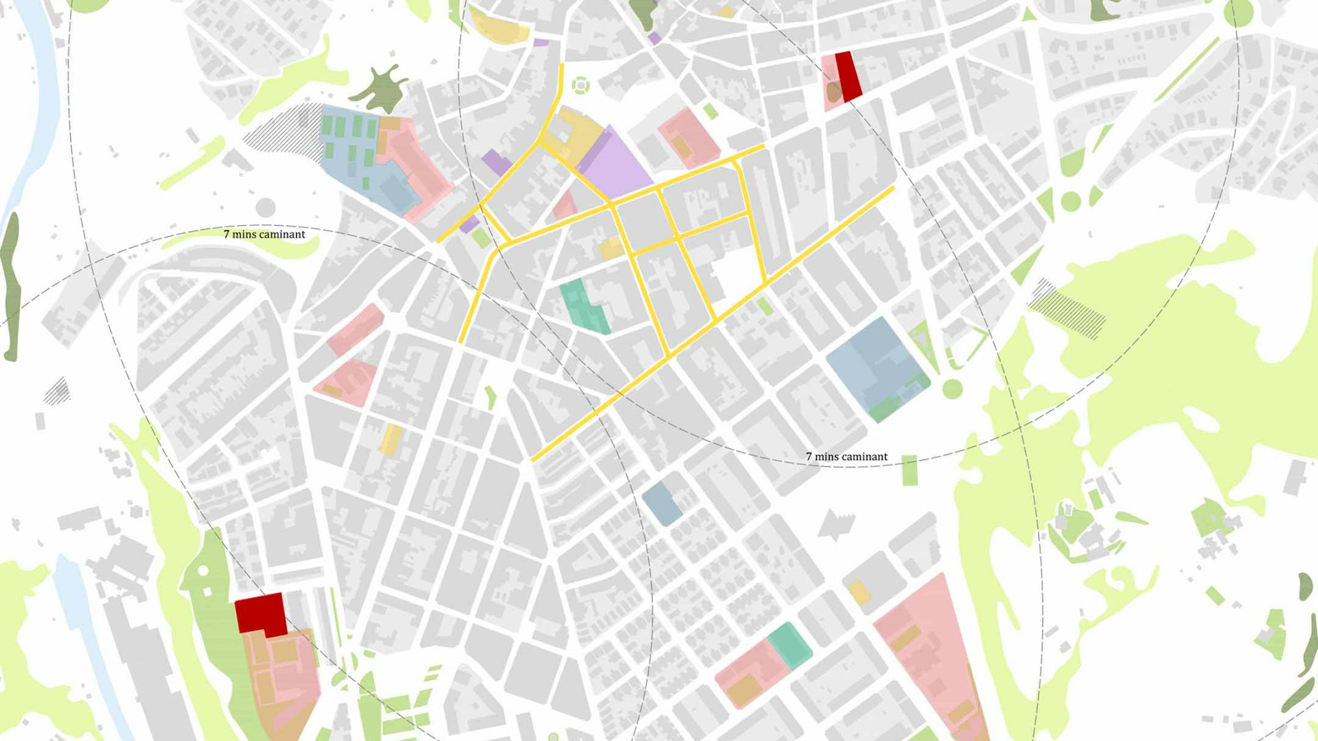 Equipaments, zones verdes i eixos d'activitat comercial.