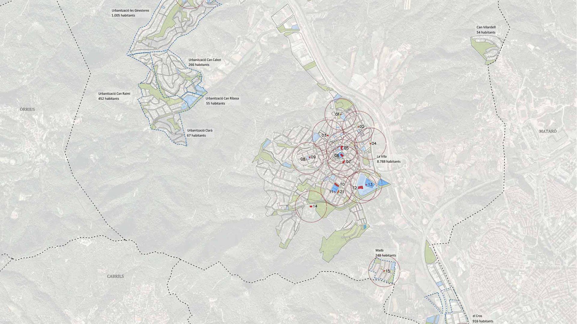 Localització i cobertura de les àrees infantils actuals.