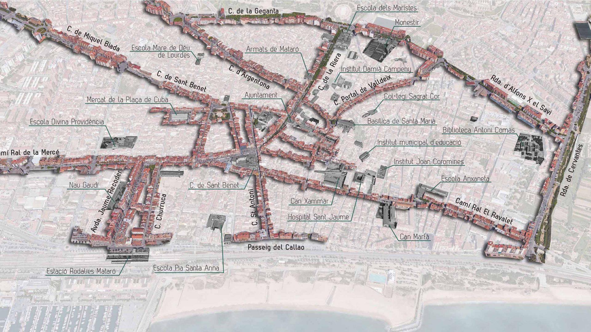 Planol de l'estratègia de construir una xarxa de fluxos i polaritats entre el Centre, la platja, el port, les Cinc Sènies, el Techno Campus. Zona d'activitat i coneixement.