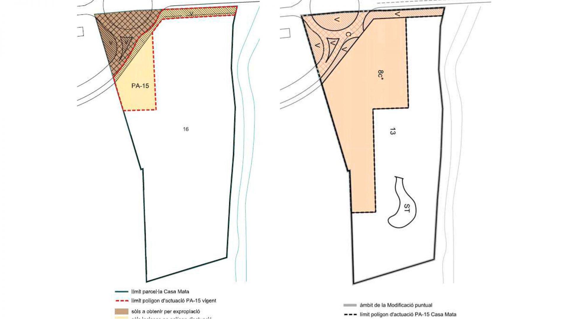 Comparativa dels sòls inclosos en el polígon d'actuació. A la dreta - segons POUM i a l'esquerra la proposta de la modificació puntual.