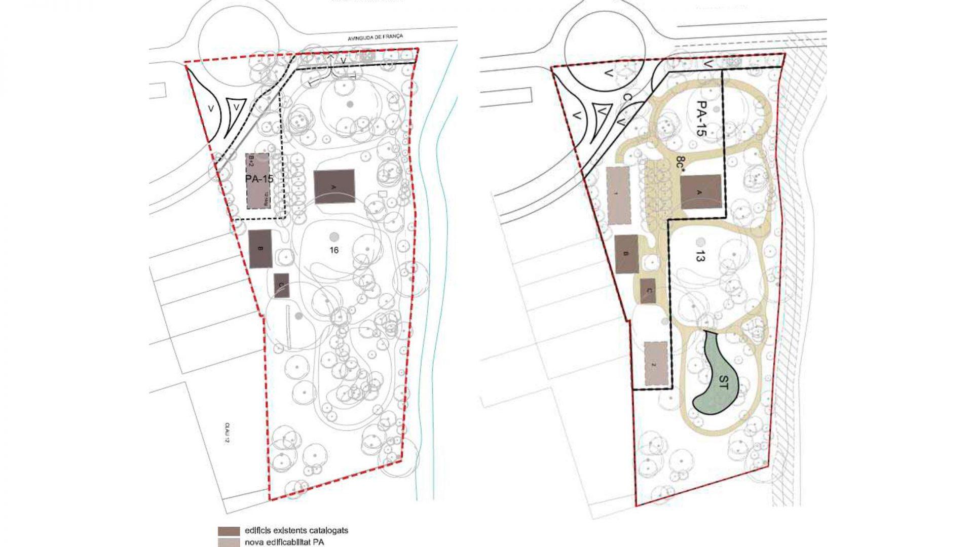 Esquema comparatiu de la reordenació de les noves arquitectures. A la dreta la localització segons el POUM i a l'esquerra la proposta de la MPG