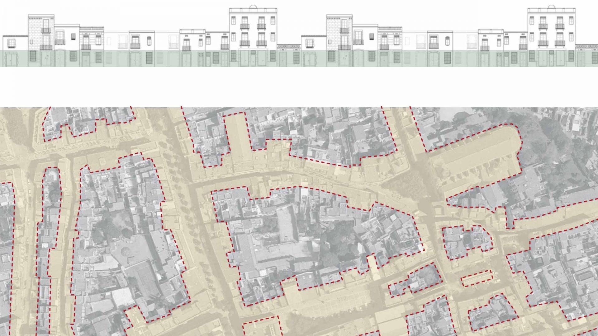 Estratègia de crear sinèrgies mitjançant l'extensió de l'espai públic a les plantes baixes d'alguns edificis.
