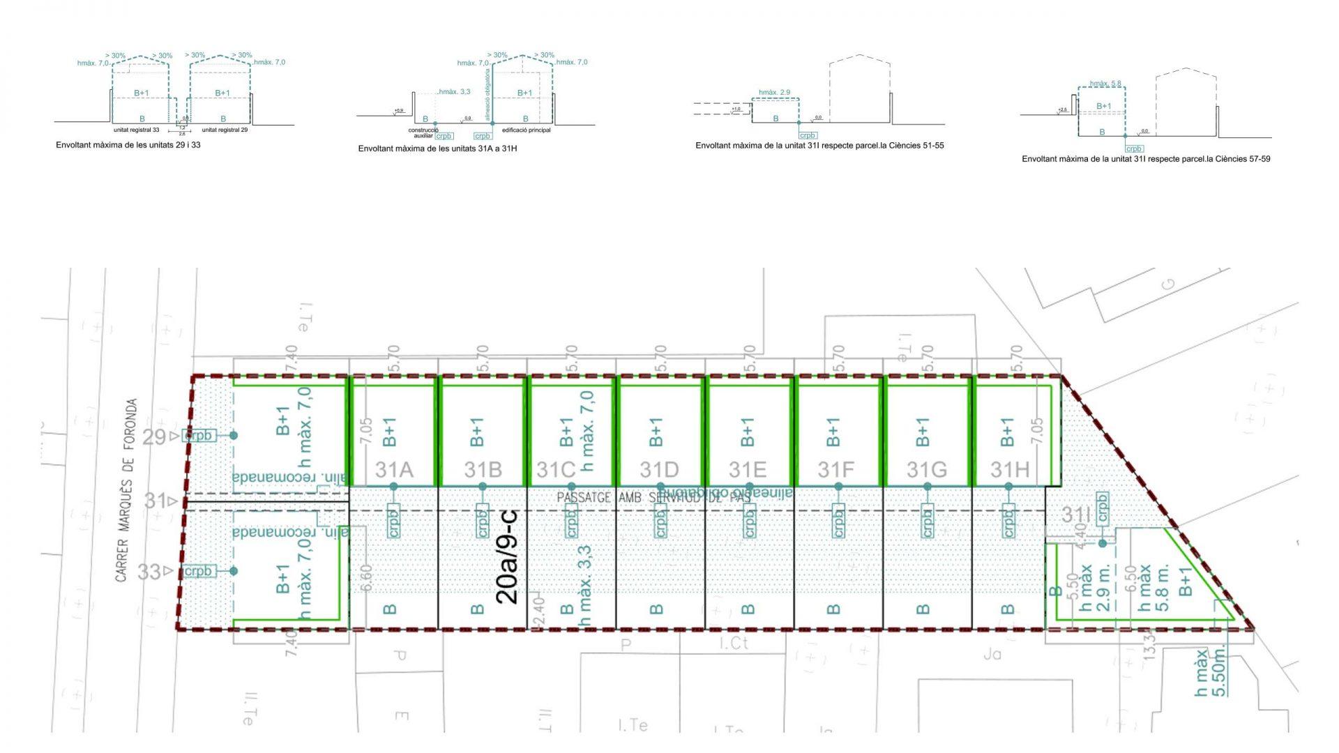 Planta i seccions de la proposta