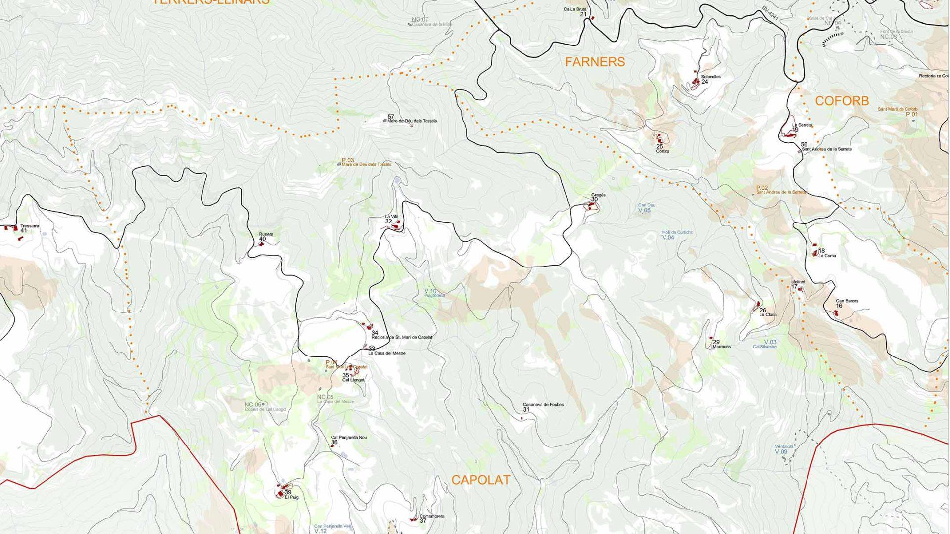 Localització de les edificacions a l'àmbit de Capolat