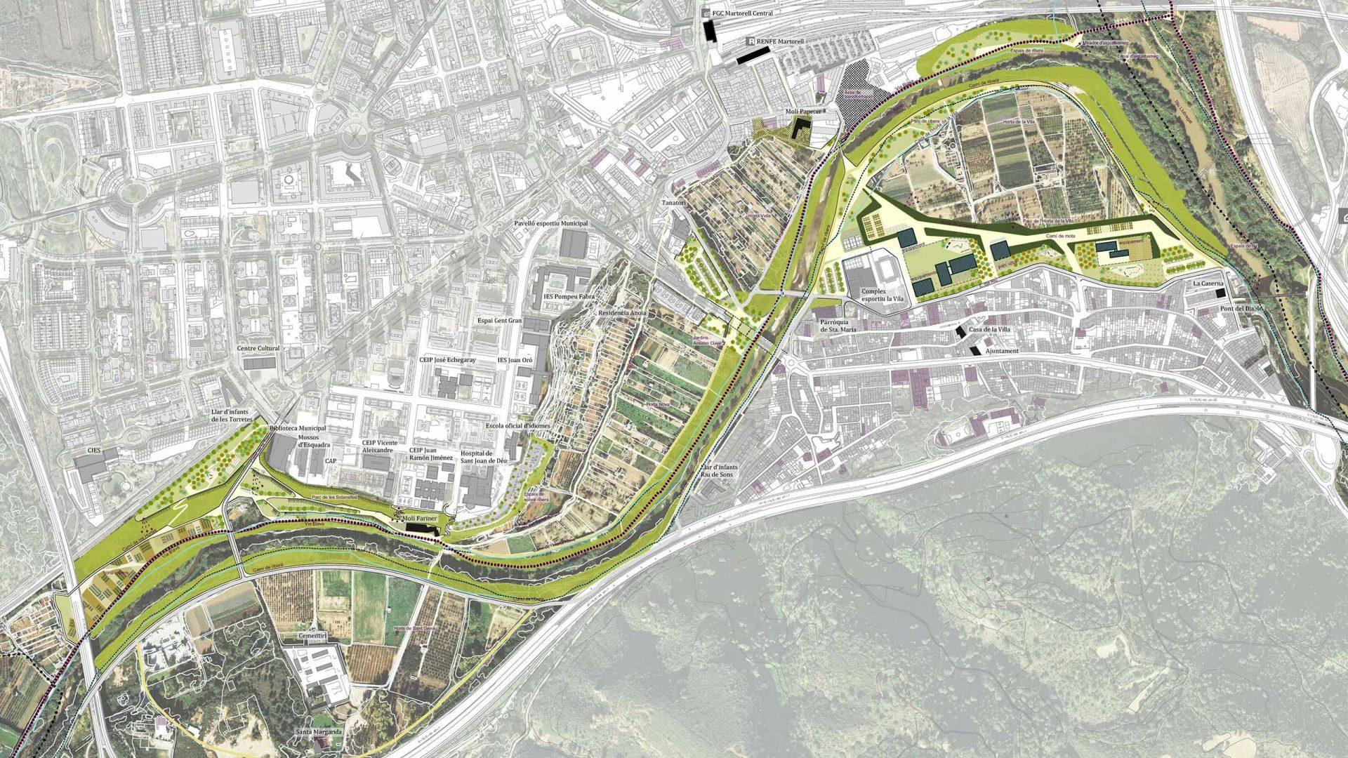 Proposta del Parc Fluvial de l'Anoia al seu pas per Martorell