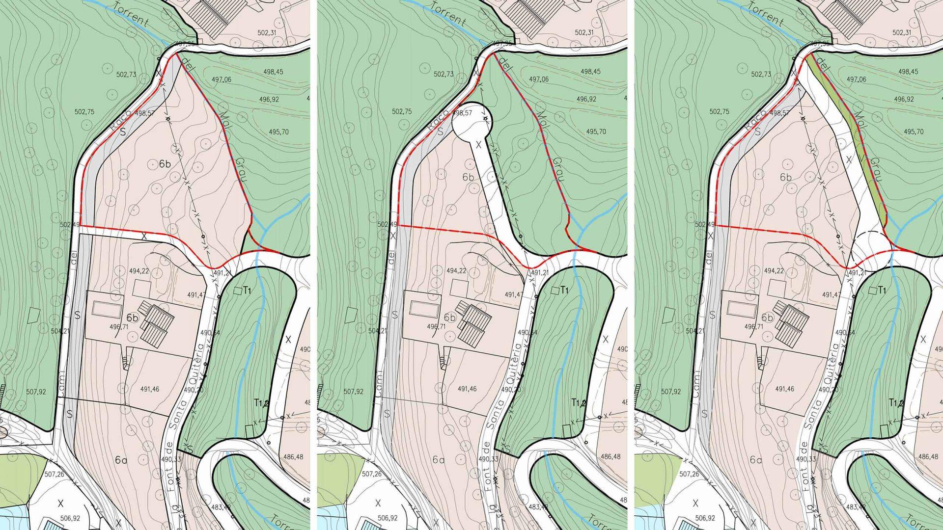 Comparativa entre el POUM (2010), MPPOUM (2015) i la proposta de l'estudi de Territoris (2017) a nivell de Qualificació del sòl.