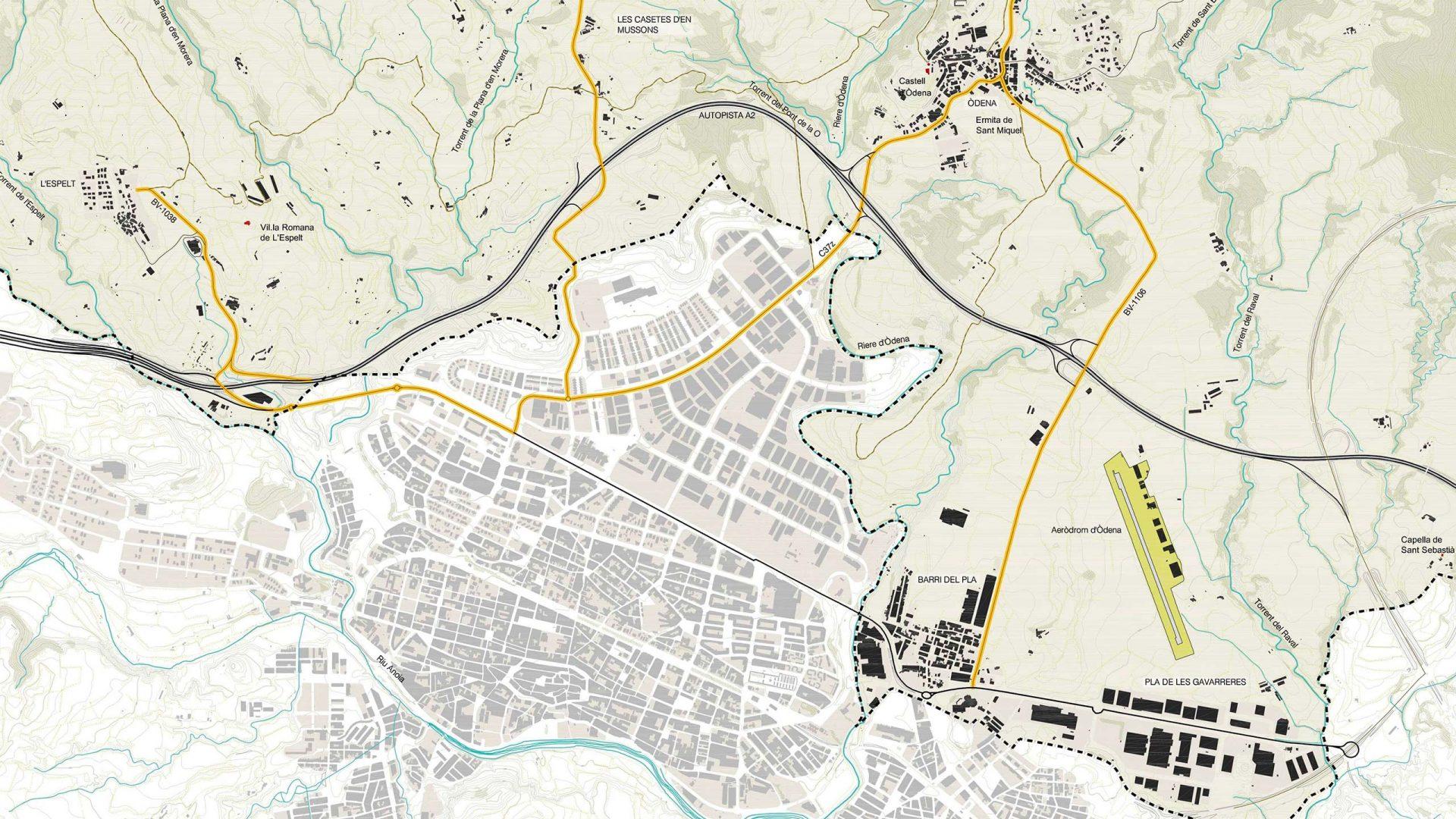 Planol del municipi d'Òdena.