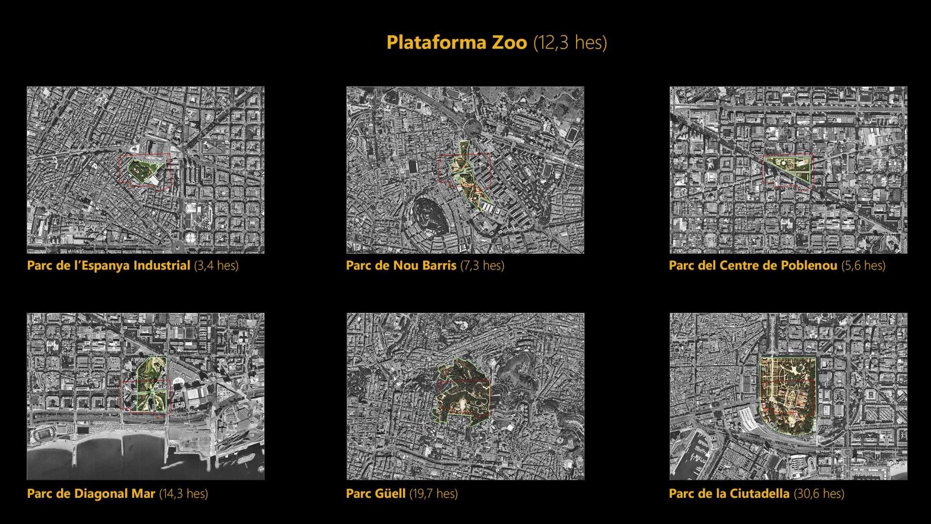 Comparativa ámbit d'estudi sobre parcs de ciutat i de barri