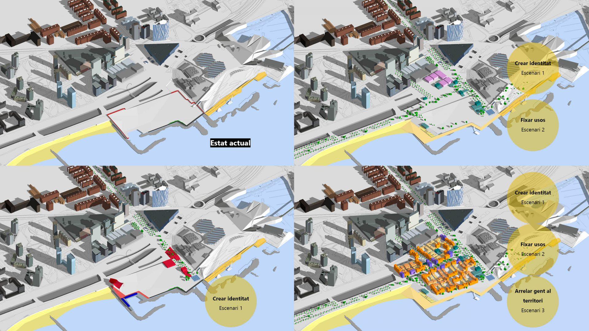 Vistes axonomètriques de l'estat actual i les tres escenaris proposats.